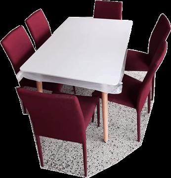 Imagen de Juegos de Comedor SZ Samara Mesa y 6 sillas Bordeaux